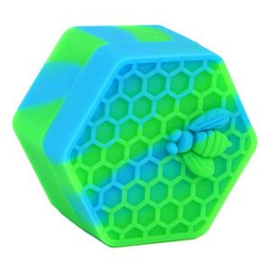 ¡Asombroso! 5 unids / lote Hexágono Contenedor de silicona Contenedor Contenedor Contenedor de silicona para aceite Crumble Miel Cera de silicona Frascos DAB