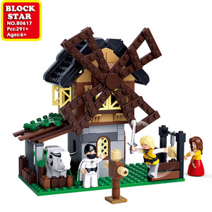 Blockstar The Street Shops Building Blocks Windmill Training Ground Block Bifficult Bricks For Kid DIY Toys Children's Christmas Gifts