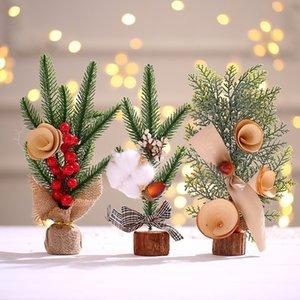 HOT Christmas decorations 25cm Mini Christmas tree ornaments table top atmosphere decorate Christmas tree gifts 6 style 100pcs T500416