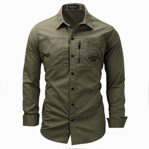 Мужчины кнопки на открытом воздухе наружные рубашки регулярные подходят с длинным рукавом фланель повседневная мужская хлопковая рубашка куртка пальто мужские армии зеленые вершины размером 3XL FM117