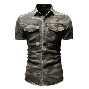 Negizber shirt Casual Camouflage Denim Grande bolso soltas de manga curta de 2019 New Men Men