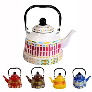 1.1 1.7 2.5L Whistling Enamel Tapot with Steel Handle Exquisite Stovetop Kettles Traditional Bone China Teapots Luxirious Metal Jug EWD2283