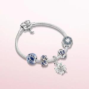 BBee 925 Sterling Silver 2020 Blue Butterfly Charm Bracelet Set Crown Blue Charms DIY Fit Original Pandora Bracelets Jewelry36cb#