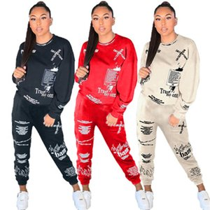 Damas letras graffiti impresión conjuntos de moda de moda manga larga ron sweatshirt pantalones trajes diseñador femenino otoño casual trajes