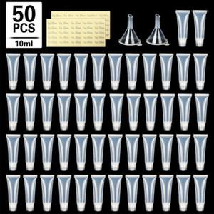 Бутылки для хранения JARS 50 шт. 10 мл Пустые глянцевые пробирки для губ Установить губную губную трубку Мягкая макияж сжимает четкие липкая контейнер для хранения1