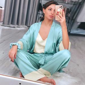 Hiloc Laçage Patchwork Home Robe Ensembles Épissage Robe de soie en satin des Femmes Séjour de peignoir Nuit Player Pajamas Set Hiver Y0112