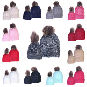 luxury-Parent-child Pom Pom Beanie 13 Colors Mom Kids Knitted Cap Women Child Winter Warm Pompom Hats Skullies Beanie Hat 2pcs set OOA7503-2