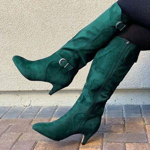 2020 New 2020 Autumn and Winter New Cross-Border Independent Station Fashion Boots European and American High Heel Belt Buckle Middle Boots
