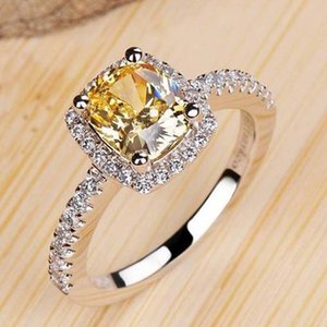 Luxury designers Fashion Color yellow Diamond Platinum -plated Sterling Silver Women Wedding Or Engagement Ring