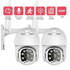 4MP Wireless PTZ WIFI Camera Outdoor IP Speed Dome CCTV Security Camera Pan Tilt 4X Zoom Surveillance Siren Alarm P2P (2 PACK )
