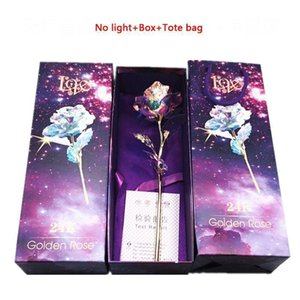 Gold Foil Plated Flashing Luminous Flower Golden Rose Wedding Decor Birthday Mother's Day Valentine Day Boxed Gift DH1279