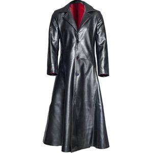 Vogue Men's Fashion Gothic Long Coat Leather Coat Faux Leather Jacket Jackets Jaqueta Male Winter S-5XL