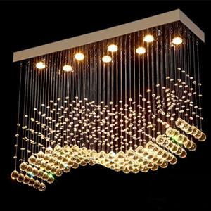 Hot DHL K9 Crystal Chandeliers LED Chrome Finished Light Wave Art Decor Modern Suspension Lighting Hotel Villa Hanging Lamp Free shipping