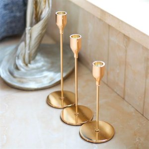 3Pcs Lot European Candle Holder 4 Colors Candlelight Dinner Candlestick Metal Candle Wedding Supplies Bar Party Home Decoration CCE1973