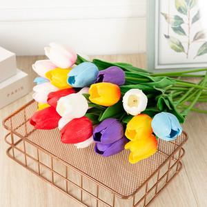 50PCS Latex Tulips Artificial PU Flower bouquet Real touch flowers For Home decoration Wedding Decorative Flowers 8 Colors Option
