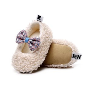 Baby Girl Bowknot Cotton WinterBoots Soft Soled Non-slip Footwear Crib Shoes First Walk Toddler First Walker Shoes 0-24M6