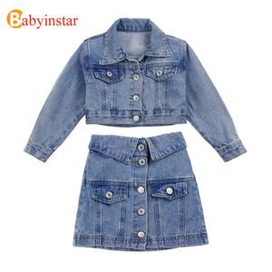Babyinstar Boutique Jeansjacke und Röcke 2pcs Sets für Mädchen-Jacke zurück mit Sequin Lächeln Brief Mode Mädchen Jeans Anzüge X0923