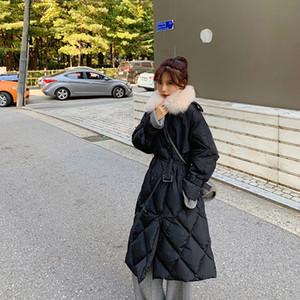 Hot Sale Winter Women Real Fur Collar 90% White Duck Down Jacket 2020 Long Thick Warm Coat Puffer Parka Windebreaker With Belt Snowwear