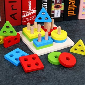 Logwood Baby Wooden Montessori education Toys geometry intelligence board teaching leaning match toys for children LJ200907