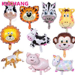 50pcs lot Mini Lion Monkey Ladybug Cow Head Animal Foil Balloons Kids Birthday Farm Zoo Theme Party Decorations Toys Air Globos 1027