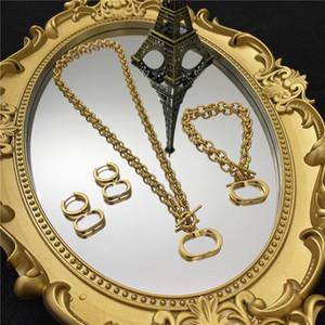 Vintage Letter Necklace Brand Women Earrings Bracelet Luxury Chain Pendants Designer Earrings Gift For Party Anniversary