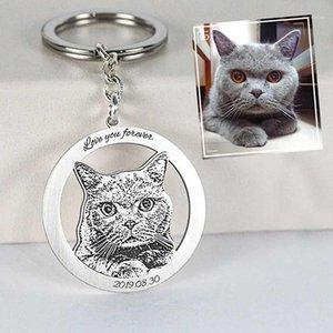 Porte-clés de chat animal sur mesure 925 Silver Femmes Cercle creusé Animaux Porte-clés 2,5cm Bijoux personnalisés En grave Nom Bijoux cadeau1