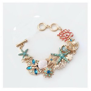 Lateefah Ozean Elements Starfish Seahorse Shell Korallen-Charme-Armband Bunten Meer Fancy dressing Schmuck
