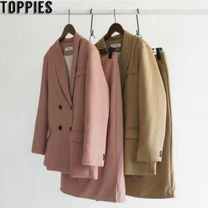 Toppies Printemps Femmes Costumes Blazer Blazer Doule boutonnage Rose taille haute Lady Bureau Jupe Ensembles 201006