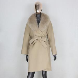 FURBELIEVE Real Fur Coat Winter Jacket Women Loose Natural Fox Fur Collar Cashmere Wool Blends Outerwear Belt Streetwear 201102