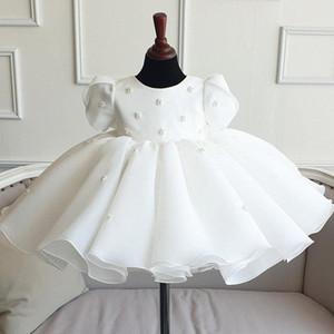 Vestido recién nacido de encaje blanco para Baby Girl Fiesta Boda Cuentas de manga corta Tulle Infantil 1er vestido de cumpleaños Princesa Bautismo Ropa 7NNC #