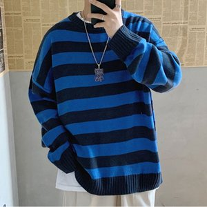 Men Streetwear Striped Casual Knitted Sweater Korean Collage Autumn Pullover Tops Male O-Neck Oversize Sweater Fashions
