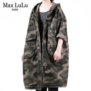 Max lulu outono novo coreano roupas longas senhoras com capuz denim trench casacos womens camuflagem vintage windbreakers solto streetwear