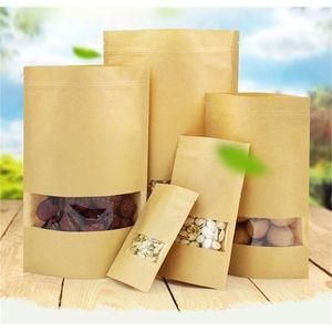 Kraft Paper Bag with square window Flat Food Bags TEA NUT PACKING BAGS Moisture-proof bag c253