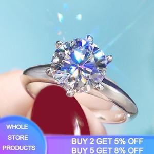 95% OFF! Luxury 2ct Big Lab Diamond Zirconia Gemstone Rings for Women 18K White Gold Wedding Jewelry Bridal Ring Ring Size 4-11 201026