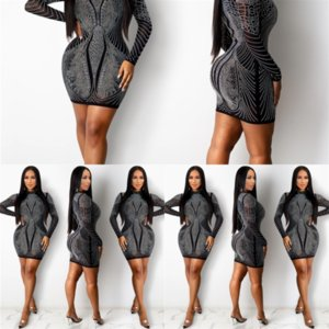 SOB Fashion Soild Casual Slim Robe Couleur Chaud Perçage Chaud Sexy Cou High Femmes Femmes Casl Robe Robes Skinnny Sexy Womens Cnlee