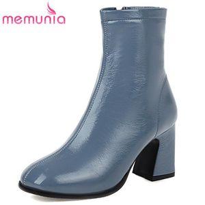 MEMUNIA 2020 big size 44 ankle boots women round toe zip high heel dress office shoes autumn winter short boots woman black