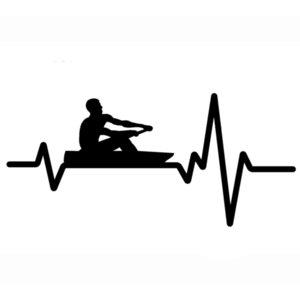 16.1cm * 7.4cm Crew RoWing Roddle Canoe Kayak Decal de coeur Vinyle Noir / Silver Autocollant de voitures C22-1239