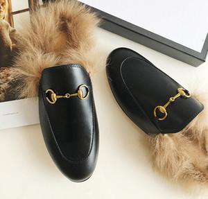2021 Designer Mules Princetown Men Chinelos de Pele Mules Flats Genuíno Couro Clássico Corrente de Metal Mens fora Casual Sapatos Tamanho 38-45