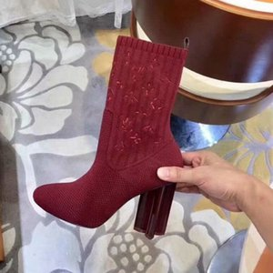 inverno Designer outono silhueta Meias botas mulheres sapatos de malha botas elásticas luxo Martin botas sexy de salto alto shoes1A4VI7