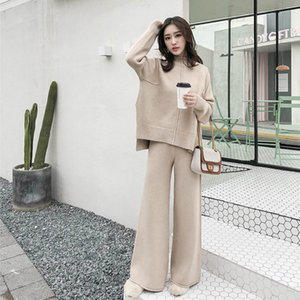 Suit, Leg Knitted Women's Cashmere Sweater, Two Piece Set, New Winter Series, Wide Trousers, Western Style