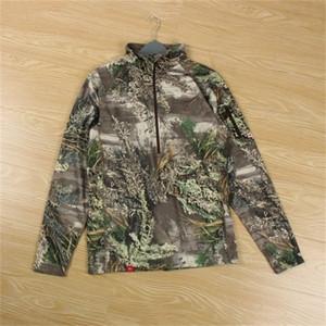 Плюс размер мужчин охотничьи футболки четверть zip camoflage рубашки мужская охотничья одежда камуфляжная рубашка флисовая куртки США размер l-3xl 201211