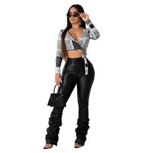 Sexy più le donne di cuoio Dimensioni Stacked Leggings Autunno Clothes elastico vita alta Pantaloni Club balze Pantaloni Streetwear