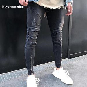 Neverfunction Yeni Erkekler Pileli Skinny Biker Jeans Homme Hip Hop Denim Pantolon Koşucular Streetwear motosiklet Slim Fit Jeans Ripped