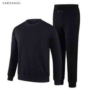 Varsanol 2018 Men Sportswear Sets O-Neck Tracksuit Sweatshirt With Joggers Pants Casual 2 Pieces Sets Men Patchwork Autumn