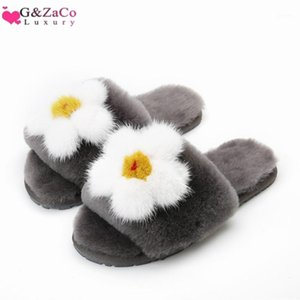 Gzaco Luxury Winter Wool Slippers Natural Ovejas Piel Real Fleece Fondo plano Flor Slipper Fluffy Women's Shoes1