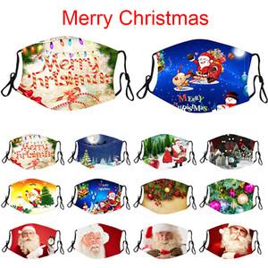 Fashion Christmas Masken Deer Printed Weihnachten Gesichtsmasken Antistaub-Schneeflocke-Weihnachtsmundschutz Waschbar Wiederverwendbare mit Masken Filter