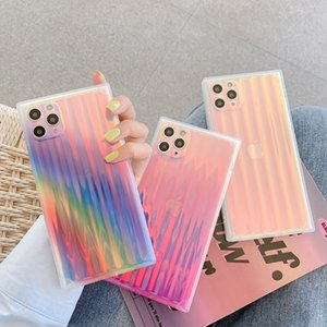 Square Rainbow Gradient Silicone Back Cover Striped Full Protective Soft Bumper Phone Shell for iPhone 12 11 Pro Max XR 8 Plus SE