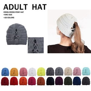 Women Knitted Caps Fashion Criss Cross Ponytail Beanie Outdoor Hat Ski Skull Cap Winter Warm Wool Casual Knitting Hat IIA715