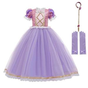 MUABABY Tangled Rapunzel Elbise İçin Kız Mor Patchwork Pullu Prenses Kostümleri Çocuk Kabarık Tül Dantel Fantezi Kıyafetler