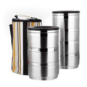 Boîte de repas en acier inoxydable épaisée 1 morceaux 1-6 super capacité Super capacité Business Bento Boîte de Bento pour enfants Portable Picnic School T200709